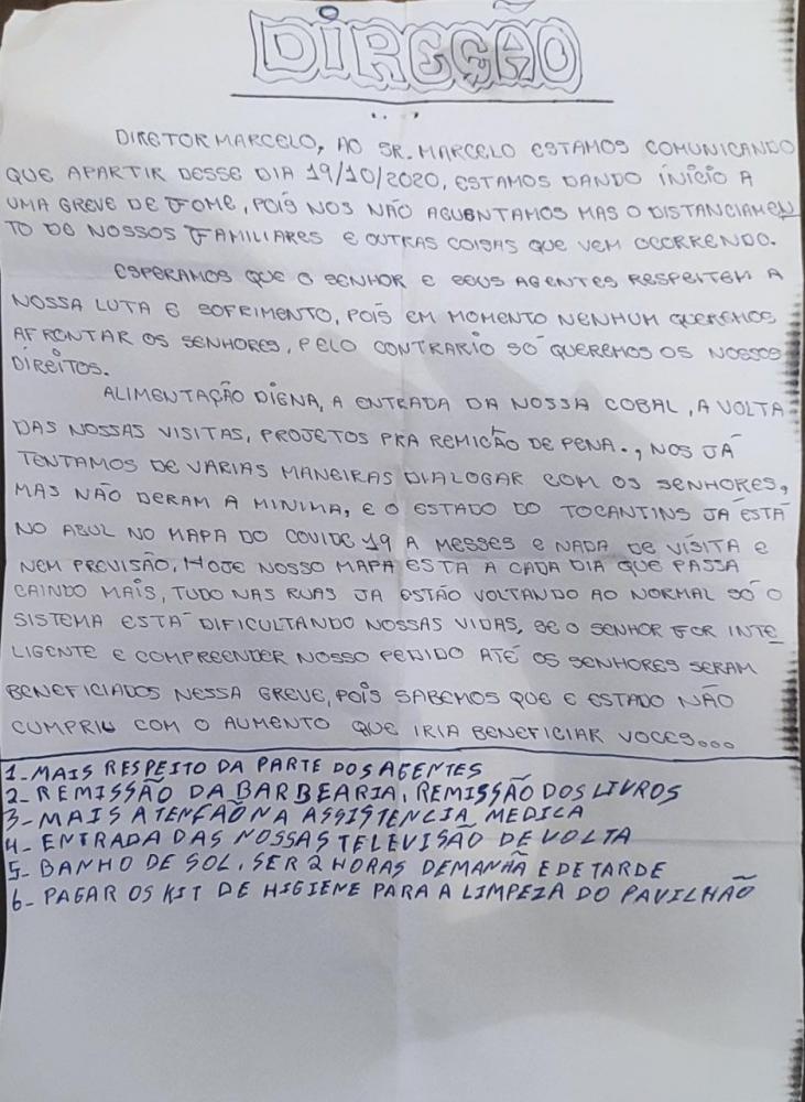 Carta enviada à direção da unidade prisional